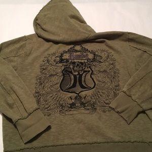 Hurley Men's green distress hood skull embroidered